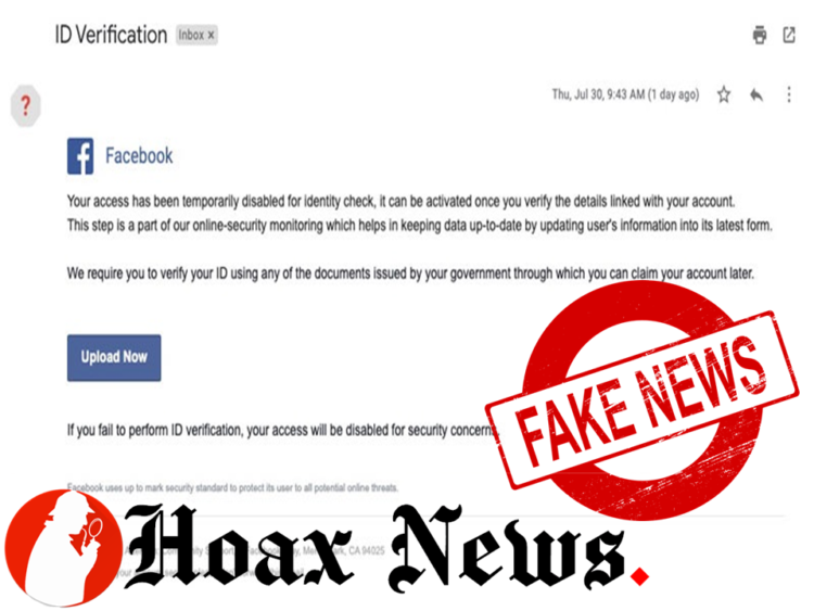 Facebook 'ID Verification' Phishing Email